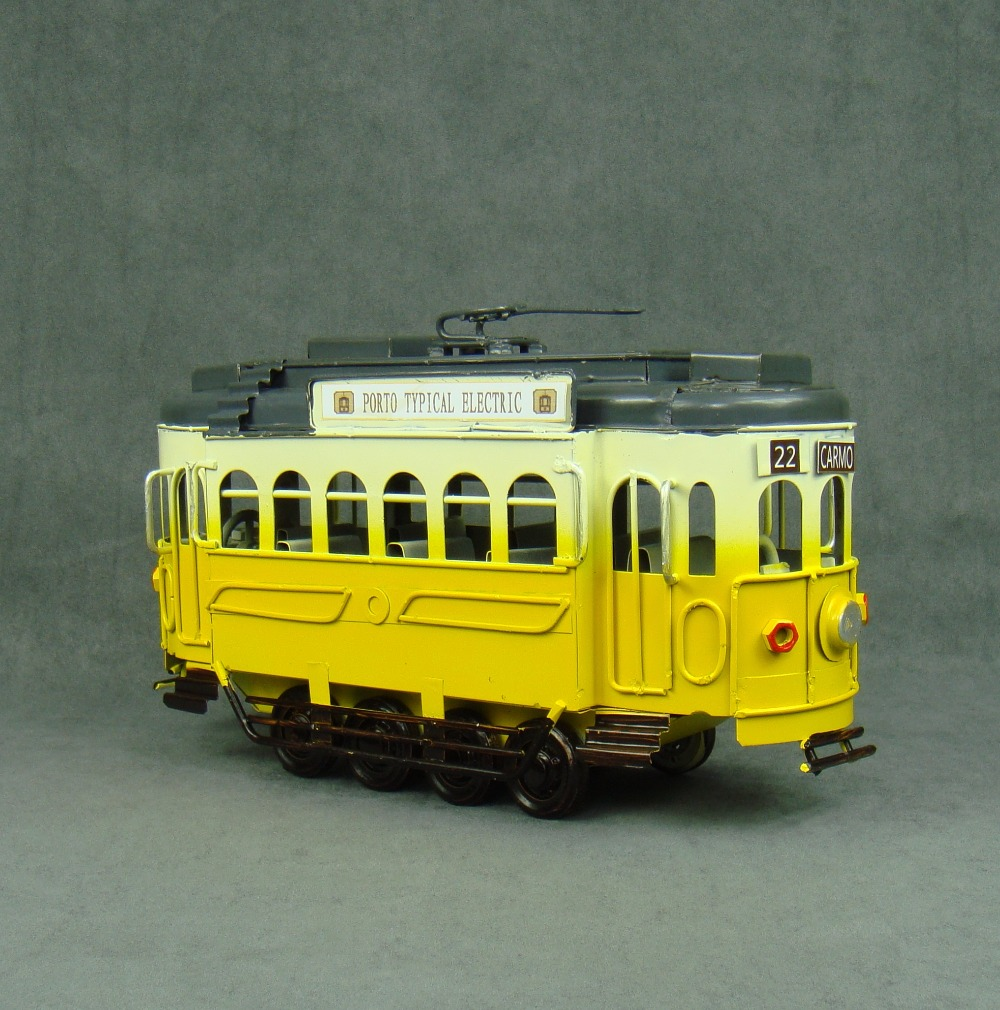 Vintage Metal Tram Model Handmade Wrought Iron Cable Car Replica ...