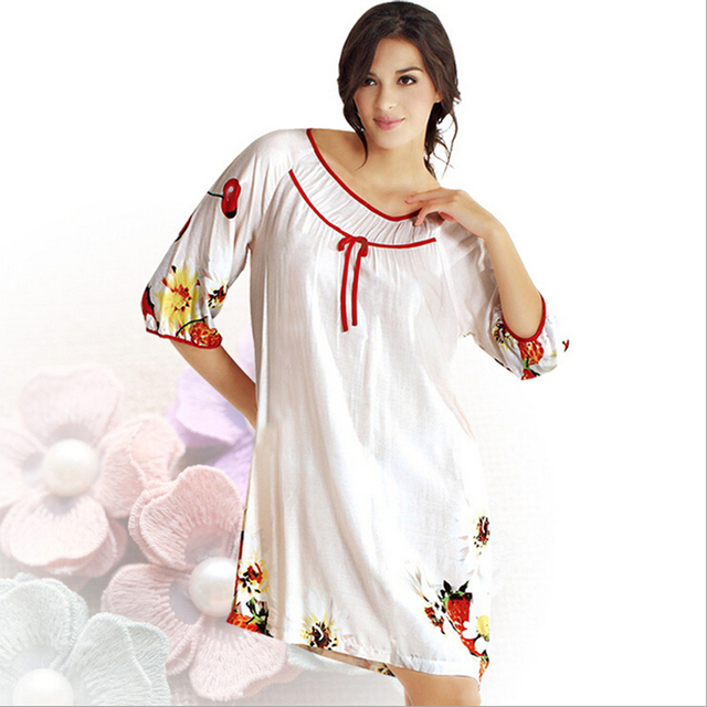 ae2e5751b2 Clearance Sale! Brand Summer Women Nightwear Half Sleeved Knee Long White  Cotton Nightgowns