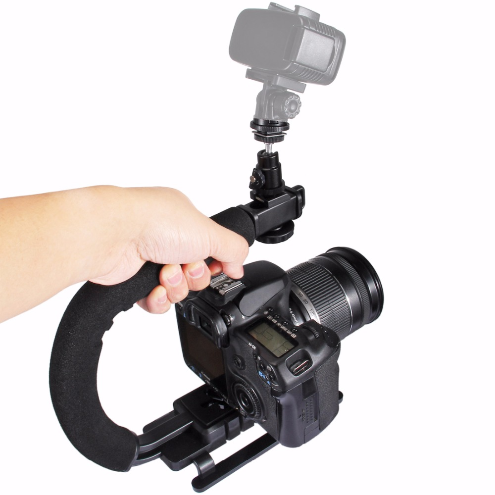 PULUZ for steadycam U-Grip C-shaped Handgrip Camera Stabilizer w/h Tripod Head Phone Clamp adapter for Steadicam DSLR Stabilizer universal cell phone holder mount bracket adapter clip for camera tripod telescope adapter model c