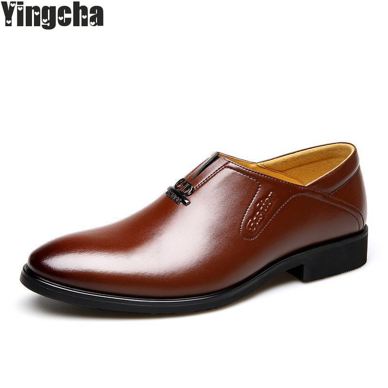 2018 Men Dress Italian Leather Shoes Slip On Fashion Men Leather Formal Male Shoes Pointed Toe Shoes For Men