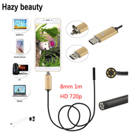 8mm Camera Lens 1M Waterproof 6 LED Android Endoscope Mini USB Cable Endoscope Inspection Camera Hd