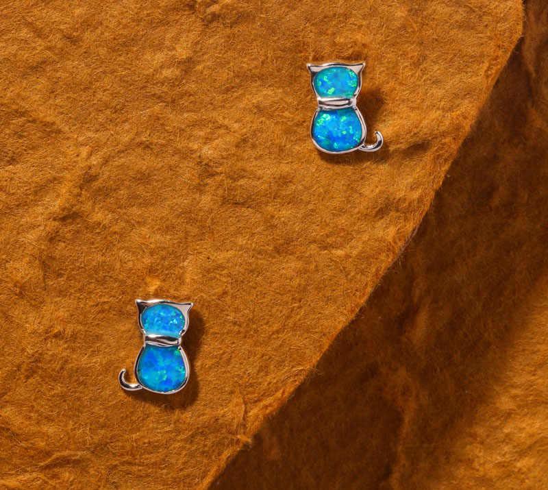 CiNily สร้างสีน้ำเงินโอปอลเงินขายส่งแมวน่ารักน่ารักสำหรับเครื่องประดับสตรีต่างหู 11 มม.OH2996