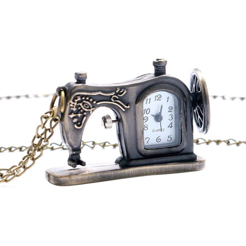 Antique Bronze Sewing Machine Pocket Watch Necklace Pedant Xmas Gift Sweater Necklace