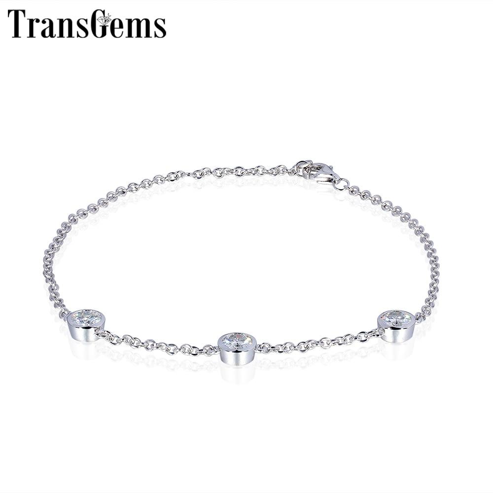 Transgems 14K 585 White Gold 0 75CTW 4mm F Color Moissanite Bracelet for Women 18CM Length