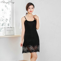 2018 autumn sexy black and white lace women's full slips sexy modal ladies full slips Female Petticoat Slip Woman V1181