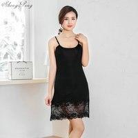 2018 autumn sexy black and white lace women's full slips sexy modal ladies full slips Female Petticoat Slip Woman V1181
