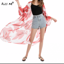 Leaf Pattern Long Beach Tunic Sexy Bikini Cover Up Women Dress Sarong Wear Wrap Chiffon Summer Sun Protection