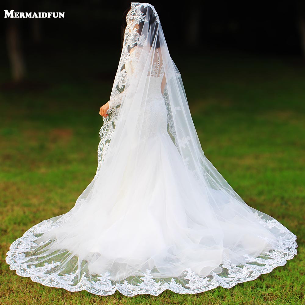 Real Photos One Layer Lace Edge Chapel Woodland Wedding Veils With Comb Long White Ivory Tulle Bridal Veil