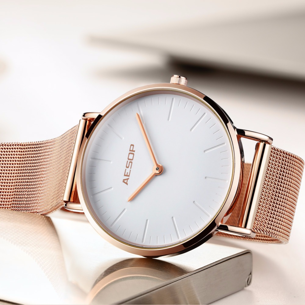 AESOP Luxury Brand Women Watches Ultra thin Fashion Gold Steel Bracelet Ladies Dress Quartz Watch relogio feminino montre femme 2017 julius brand ladies women dress watches thin quartz watch steel mesh band luxury gold bracelet wristwatch relogio feminino