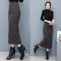 2018 Autumn Winter Long Warm Skirts For Women Elegantes Faldas Largas High Waist Plaid Pencil Long Warm Skirt Wool Woman Skirt