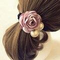 GRAACEFUL moda, hermosa, Mujeres elegantes Perlas de Satén Cinta de Rose Flor Venda Del Pelo de Hairband Del Sostenedor Del Ponytail AUG4