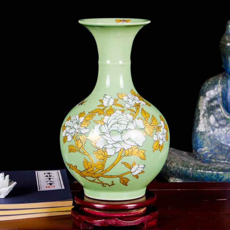 New Chinese Style Jingdezhen Color Glazed Ceramic Decor Vase Porcelain Golden Flower Vases For Christmas Day Gift