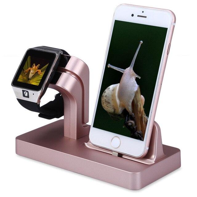 Para iphone 7 6 s plus se 5S 5c 6 base de carregamento suporte para a apple watch estação inteligente usb carregador doca stand titular área de trabalho