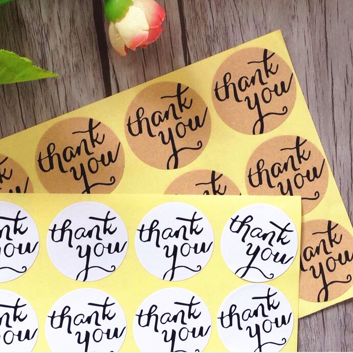 120pcs/lot Circular Cursive writing Thank you Adhesive Kraft Seal Sticker for Baking Gift Label Stickers Funny DIY Work 120pcs lot round kraft paper seal sticker romantic bicycle heart holiday thank you stickers packaging label material supplies