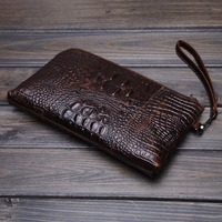 Men's Vintage Business Crocodile Grain Pattern Clutch Bag Luxury Hand Bag Wallet Phone Wrist Bags Handbags DropShipping