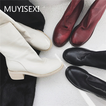 Winter Boots Women Heel Shoes Red Black White MUYISEXI Real-Leather Zipper XL07 5cm Square