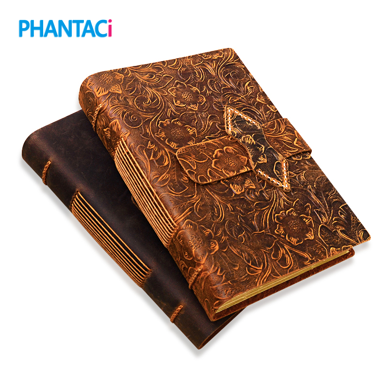 Vintage Handmade Leather Diary Notebook Sketchbook Travel Journal Blank Writing Paper Note Books Gifts School Office Stationery