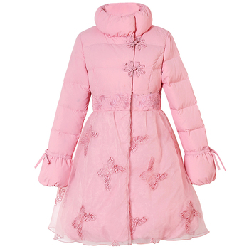 Winter Coat Women Temperament Embroidery Long Slim Down jacket Girls Sweet Pink Coats Plus Size 3XL