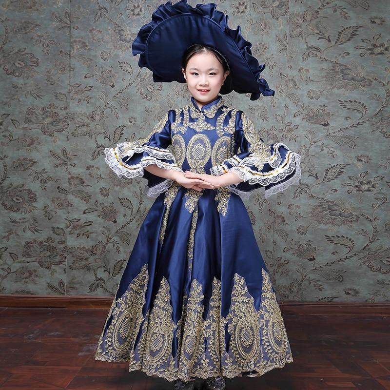 Enfants enfants cour européenne fille robes interprètes Costplay robe filles robe de bal fleur Designer Boutique robe - 2
