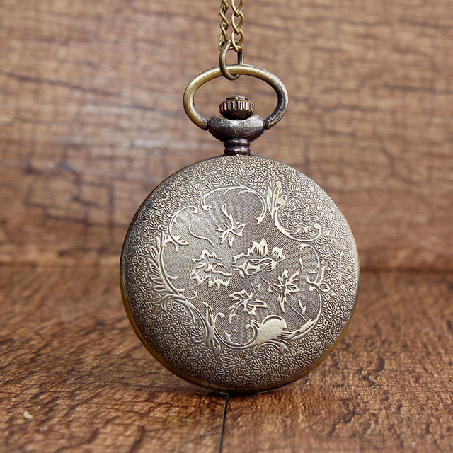 The Marauders Map Bronze Pocket Watches Vintage Sculpture College Building Pattern Quartz Pocket Watch FOB Necklace Chain Gifts