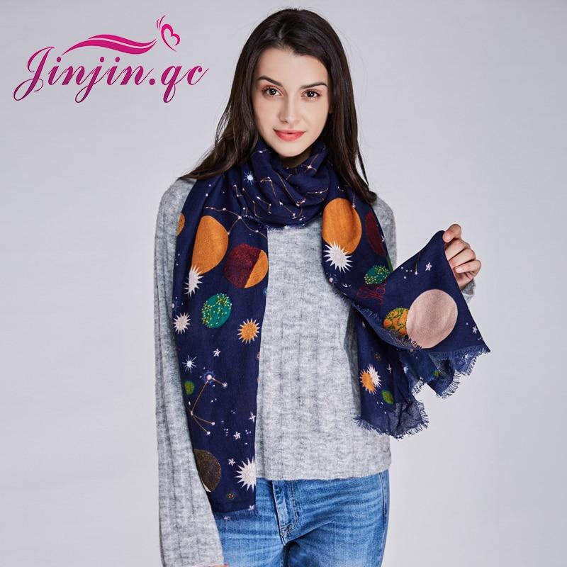 Jinjin.QC women scarf planet space sky star print scarves and shawls winter bandana warm pashmina cotton echarpe foulard femme
