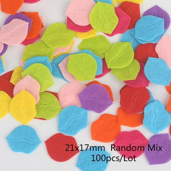 100 шт цветок/Сердце/Бабочка Нетканая фетровая ткань Войлок DIY Набор для шитья кукол скрапбук DIY ремесленные принадлежности - Цвет: Type 2