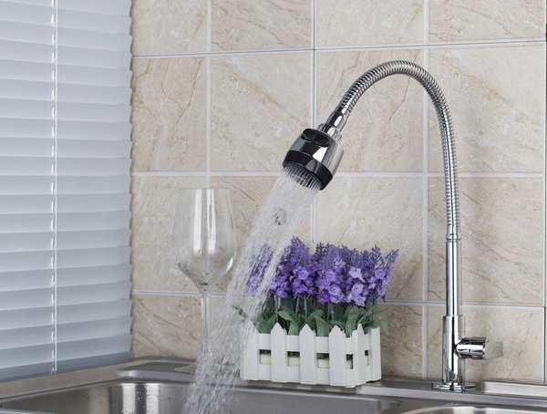 DL8551 3 1 All Around Rotate Swivel Kitchen Faucets With Plumbing Hose 2 Function Water Outlet