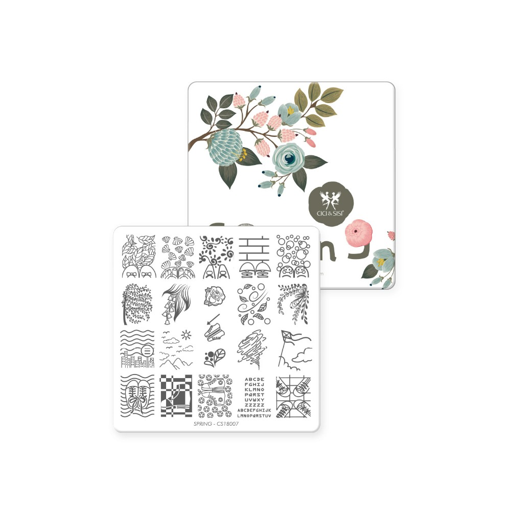 CICI&SISI Nail Art Stamping Plate Stamping Manicure Template Stamp Flowers Images Template Spring Time Series цена
