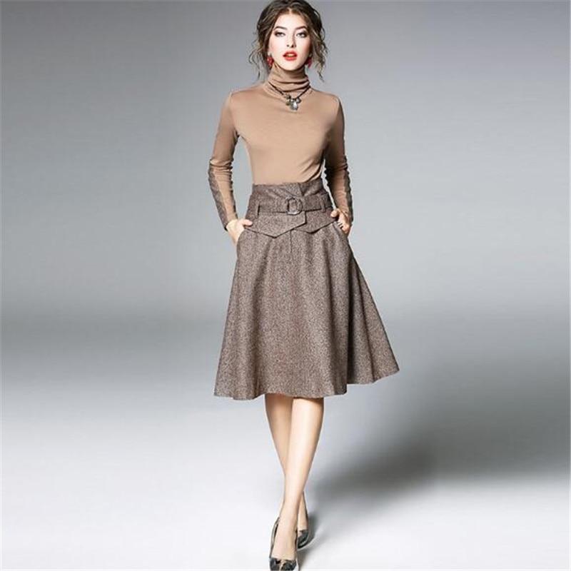European Beauty Suit Autumn Winter New Turtleneck Slim Bottoming Tops Large Swing Wool Blends Skirt Women