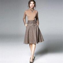 Европейский Красивый костюм, Осень-зима, новая водолазка, тонкий джемпер, топы+ большая шерстяная юбка, Женский комплект из двух предметов, A5211
