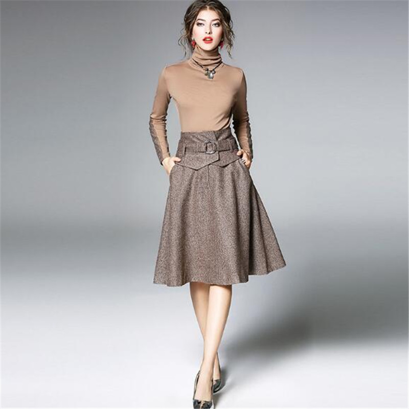European Beauty Suit Autumn Winter New Turtleneck Slim Bottoming Tops + Large Swing Wool Blends Skirt Women Two piece Set A5211-in Women's Sets from Women's Clothing    1
