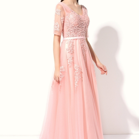 SSYFashion Lace Evening Dress The Bride Banquet Sexy V-neck Half Sleeves Embroidery Long Party Prom Dress Robe De Soiree Custom Karachi