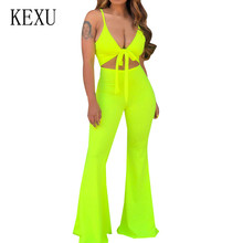 KEXU Sleeveless Spaghetti Strap Sexy Jumpsuits Deep V-neck Hollow Out Lace Up Playsuits Women Summer Vintage Boot Cut Overalls