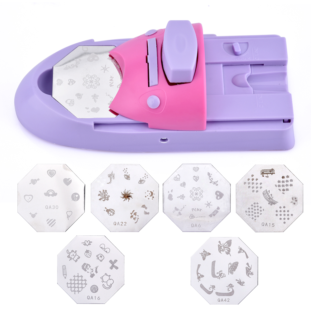 1 Set Professional Nail Art DIY Pattern Printing Manicure Machine Stamp Stamper Nail Tools Color Drawing Polish Nail Printer diy nail art printing stamp machine set purple pink