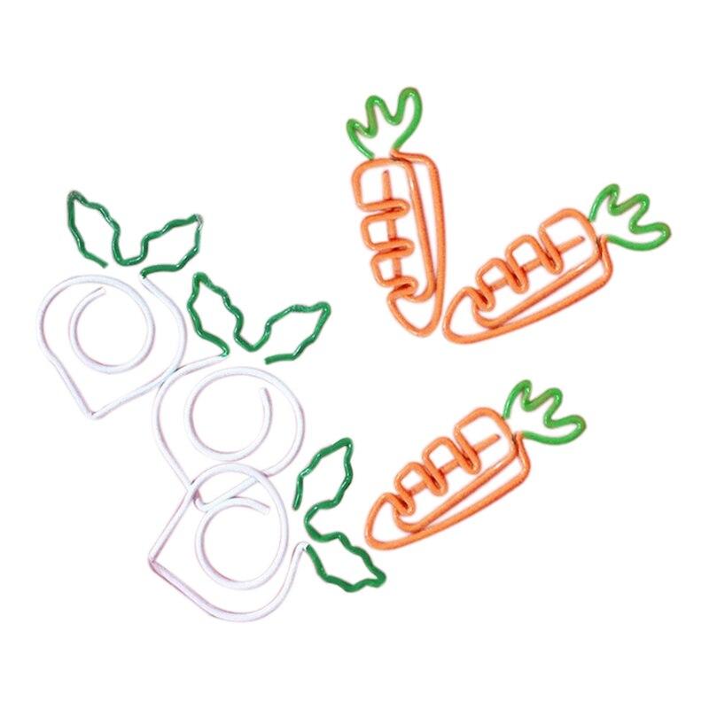 YHYS 10 pièces/ensemble Kawaii métal légume carotte radis Clips fruits Notes dossier Message Photo trombone papeterie mémo Clips