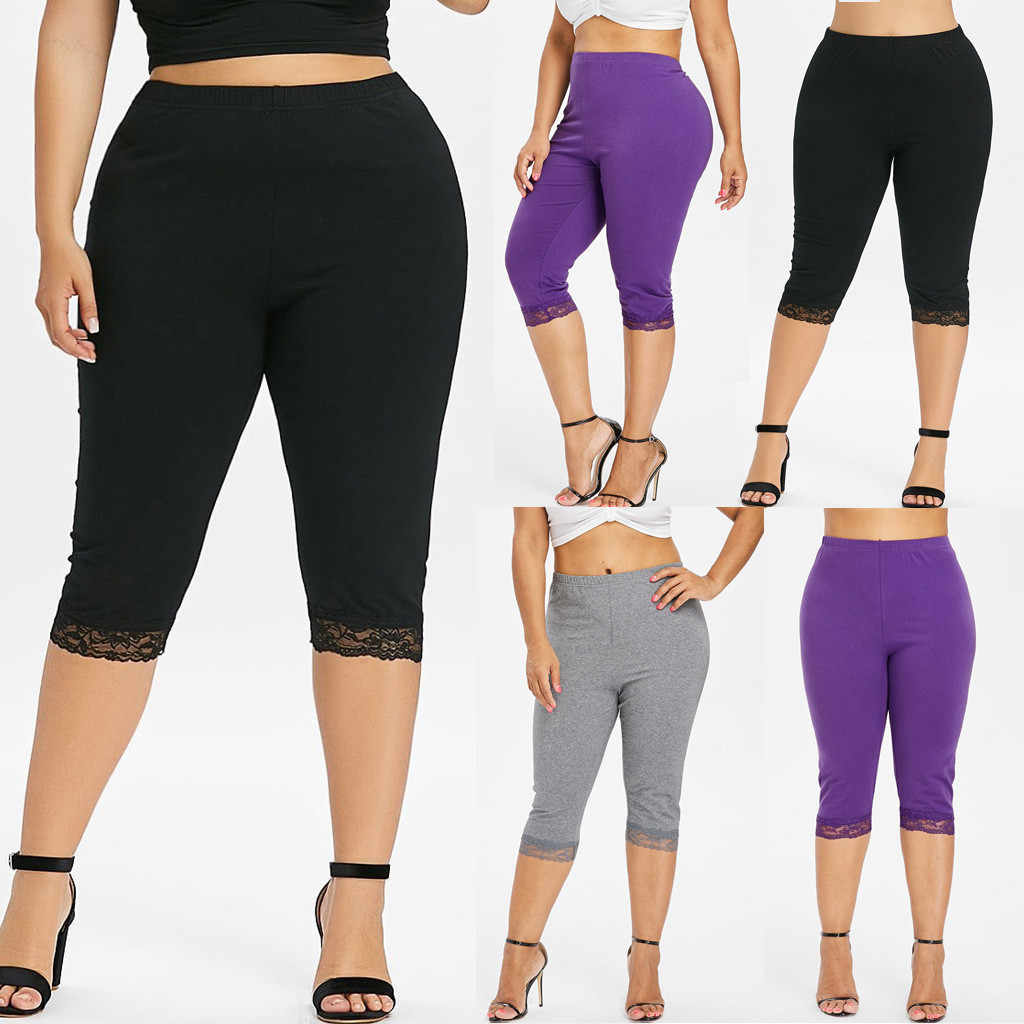 Feitong Custom legging fitness Womens Breathable High Waist Elastic Lace Plus Size Solid Push Up Elastic Slim Pants Plus Size