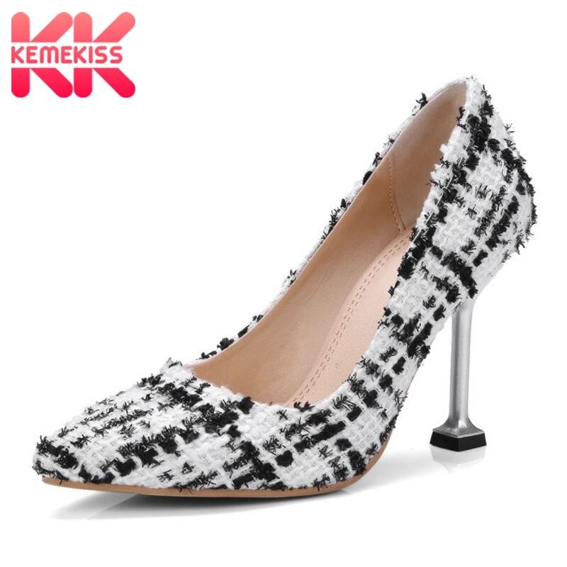 KemeKiss Size 32-45 Elegant Women British Style High Heel Shoe Women Pointed Toe Cloth Thin Heel Pumps Daily Work Women Footwear