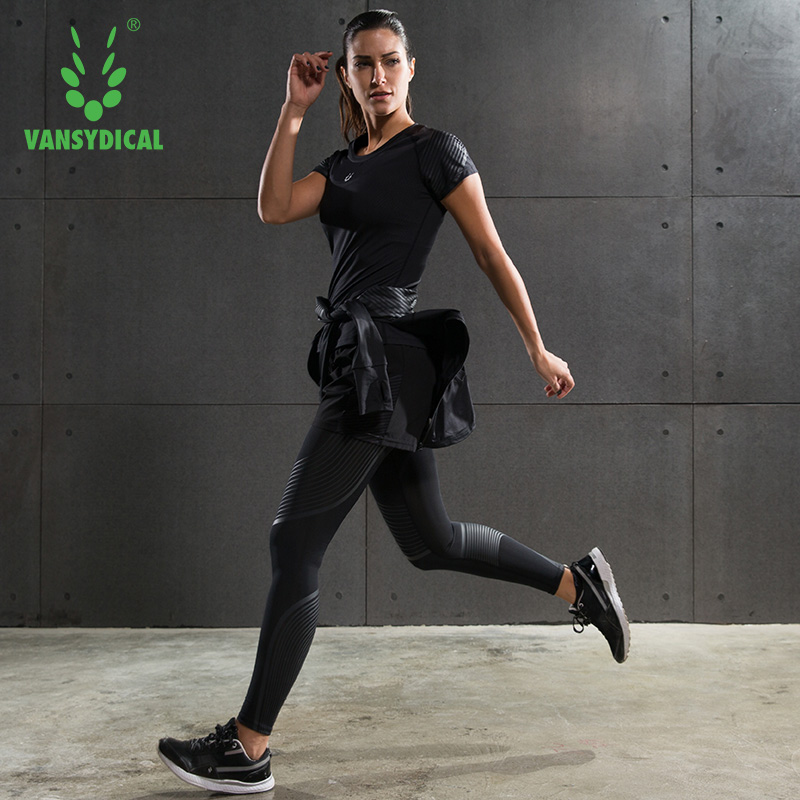 ФОТО New Jogging femme Fitness gym clothing Women Yoga sportswear jacket with mesh leggings quick dry running training tracksuits