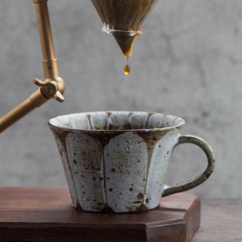 280 ml Japanischen stil Vintage Groben Keramik Kaffee Tasse Handgemachte Keramik Becher Kreative Nachmittag Teetasse Hause Drink mit Untertasse - 5