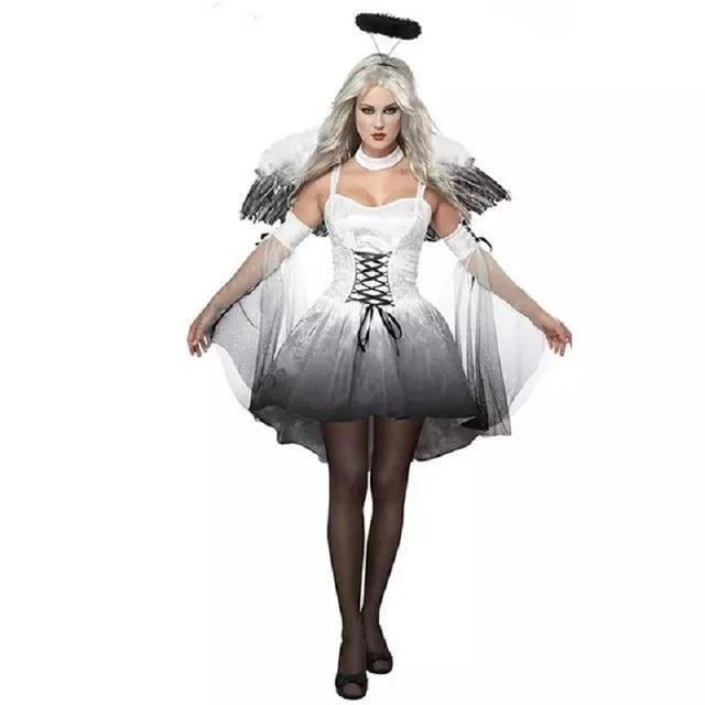 5a7ec06b72d5 Vampiro Fantasma Vestito Da Sposa e Ala Set Zombie Regina Strega Angelo  Bianco Uniformi Cosplay Femminile