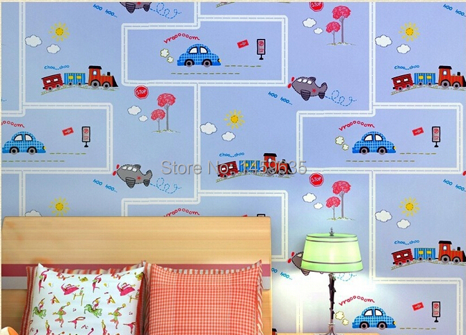Hot Sale Promotion Photo Wallpaper Wall Paper Papier Peint Non-woven Wallpaper Boy Car Children's Room Bedroom Striped beibehang wallpaper high grade environmental protection non woven wallpaper girl boy room room striped wall paper car children