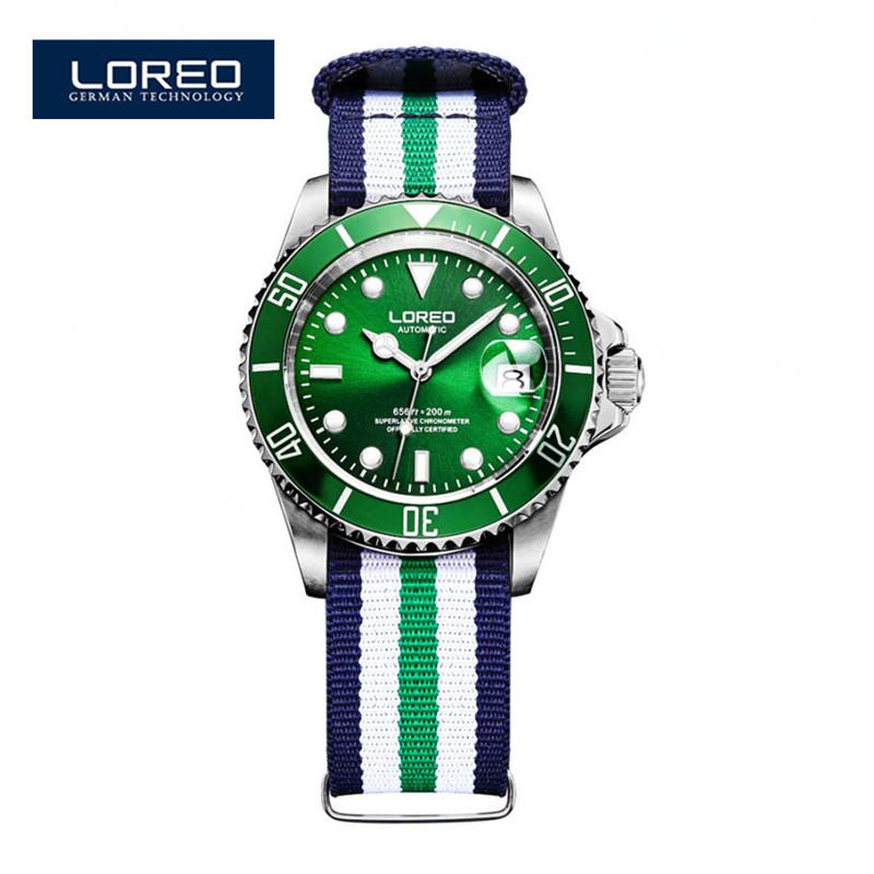 LOREO Design Men Sports Watches Waterproof 200m Stainless Steel Sapphire Mechanical Men Sport Wristwatches Christmas Gift  A11
