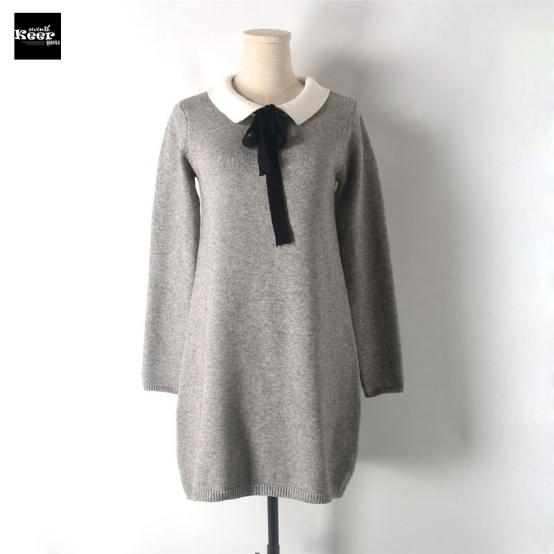 font b 2018 b font New Winter Knitted Sweater Dresses Women Runway Design Lace up