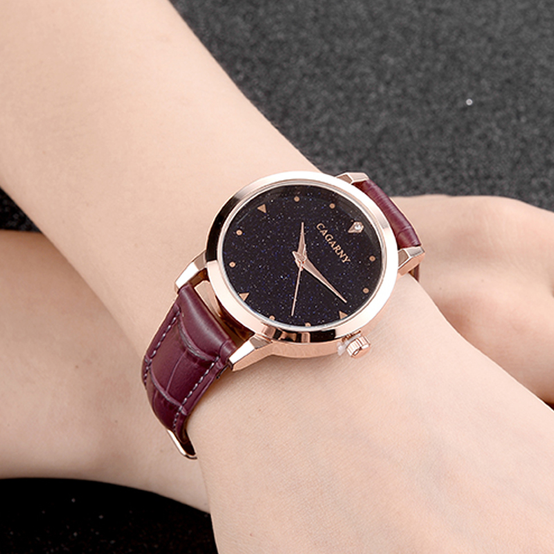 luxury brand cagarny quartz watch for women blue sky dials creative casual ladies watches rose gold case drop shipping (33)