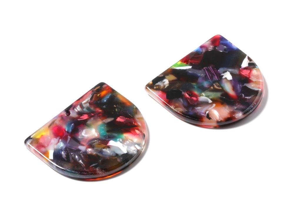 Acetate Acrylic Earring Charm One Hole - D Shaped Pendant - Earring Charm - Jewelry Making - 6 Pcs/lot-29.5x34.3x2.48mm - AC1094