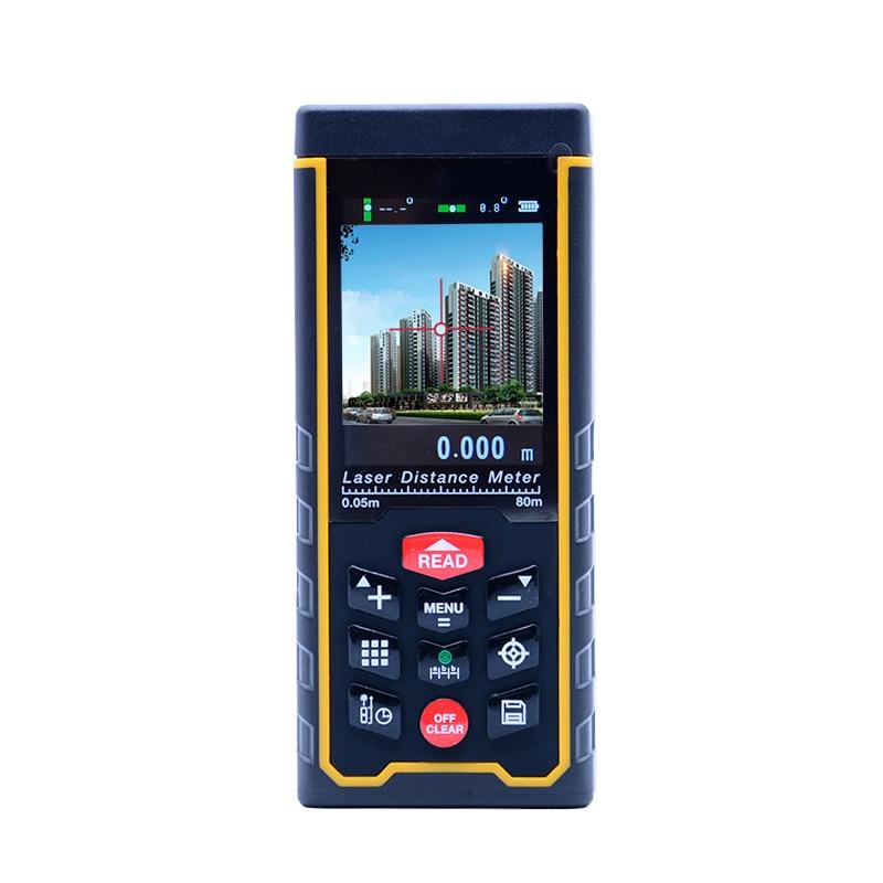 SNDWAY Digital Laser distance meter rangefinder 80m SW-S80 Color display W-camera rechargeable Laser Range Finder original dvb t satlink ws 6990 terrestrial finder 1 route dvb t modulator av hdmi ws 6990 satlink 6990 digital meter finder
