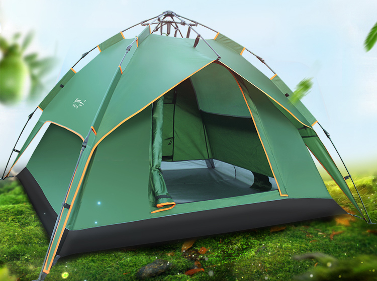 Automatic 3-4 person double layer high quality 4 season waterproof camping tent otomatik çadır
