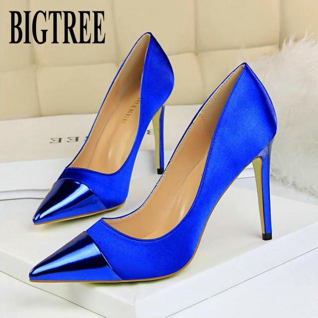 "BIGTREE 2019 אופנה 10 ס""מ גבוהה עקבים נשים ולנטיין כחול משאבות נקבה סאטן פגיון העקב Tacones פטיש משי גליטר אדום נעליים"