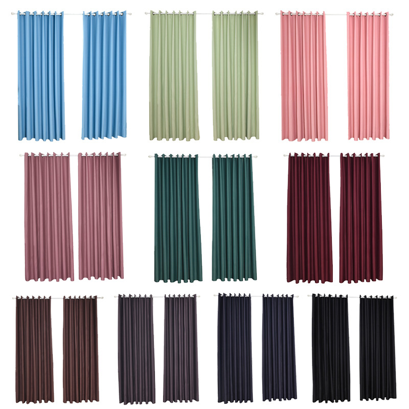 Blackout Curtain Window Treatment Thermal Insulated Solid Grommet Drapes for Living Room Home P7Ding(China)