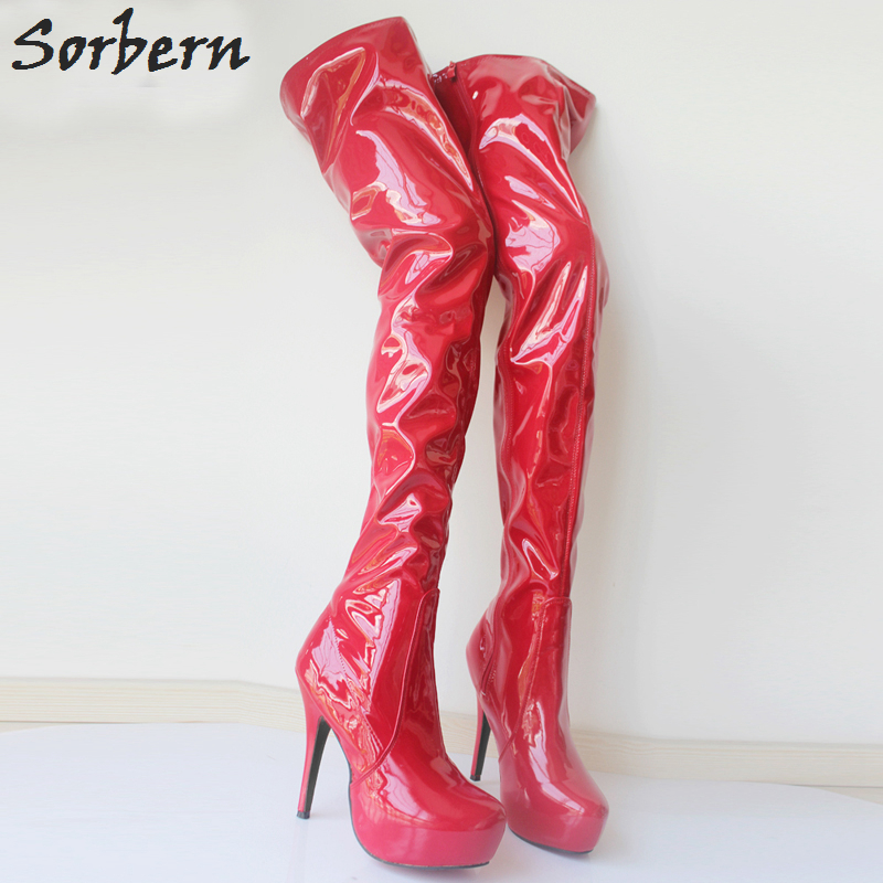 Sorbern Custom Color Shiny Over The Knee Boots Thigh High 15Cm Ultra High Heels 4Cm Platform Sexy Fetish Pole Dance Shoes Women jialuowei 20cm ultra high heel chunky heels platform zip buckle boots women dance party over knee fetish thigh high shoes